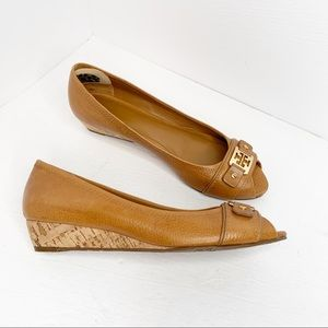Tory Burch Carnell Leather Peep Toe Wedge Pumps